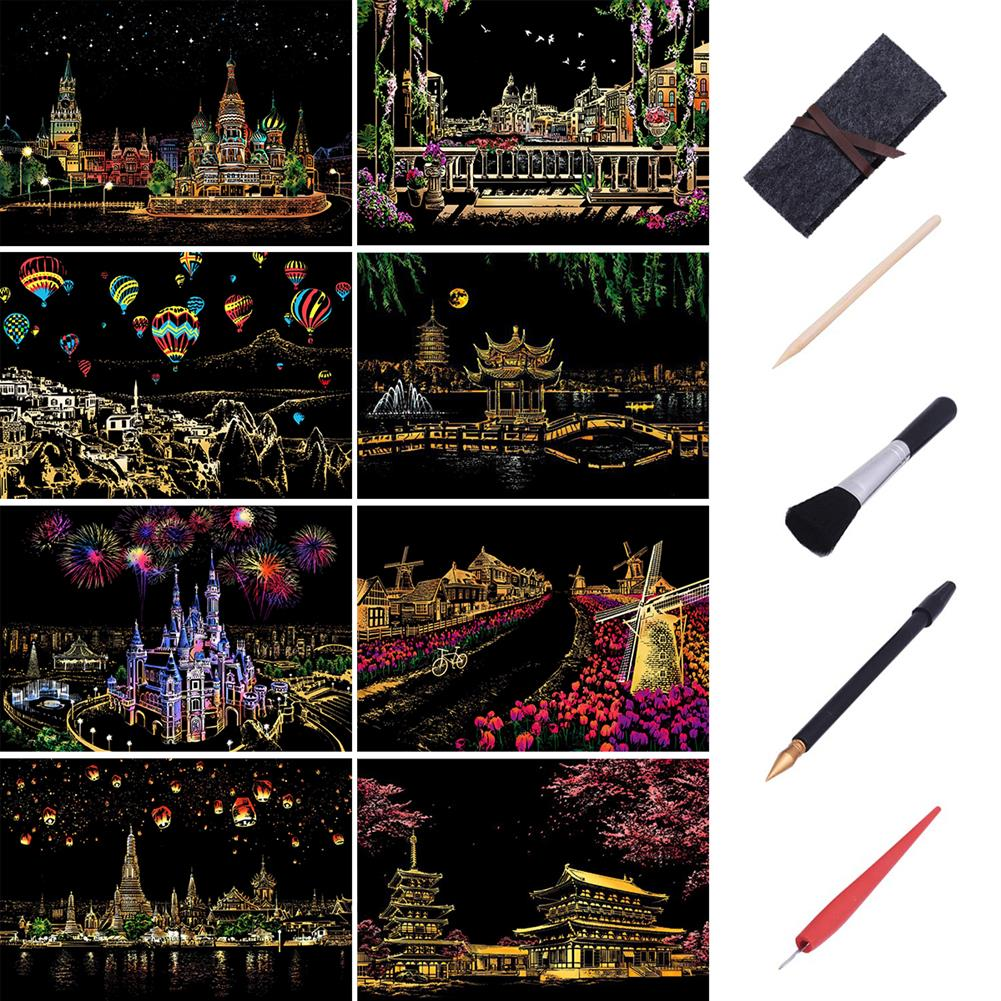 watercolor-paints 1 Piece Decorative Scratch Picture Scenery Scratching Paintings City Nightview Scraping Paintings Drawing Paper Home Decor Birthday Gift HOB1590189 1