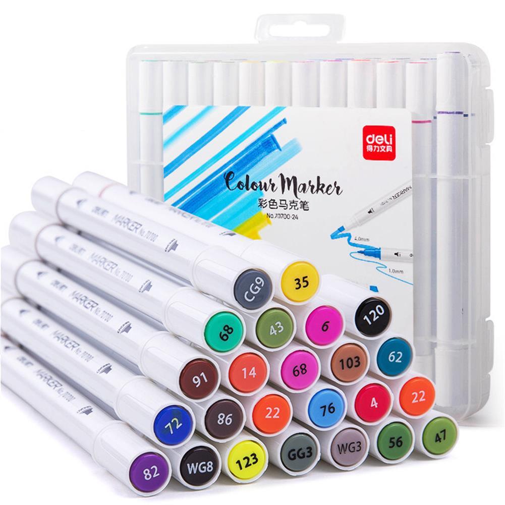 marker Deli 70700 1Pcs 12/24 Colors Marker Pens Set Double-headed Marker Pen Hand-painting Artist Marker Pens Gifts for Kids Children HOB1593485 1
