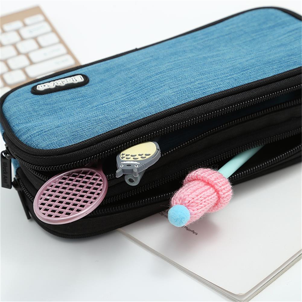 gel-pen 1 Piece Large Capacity Pure Color Pencil Case Cute Pen Bag Zipper Storage Box Pouch office School Stationary Supplies HOB1596410 1 1