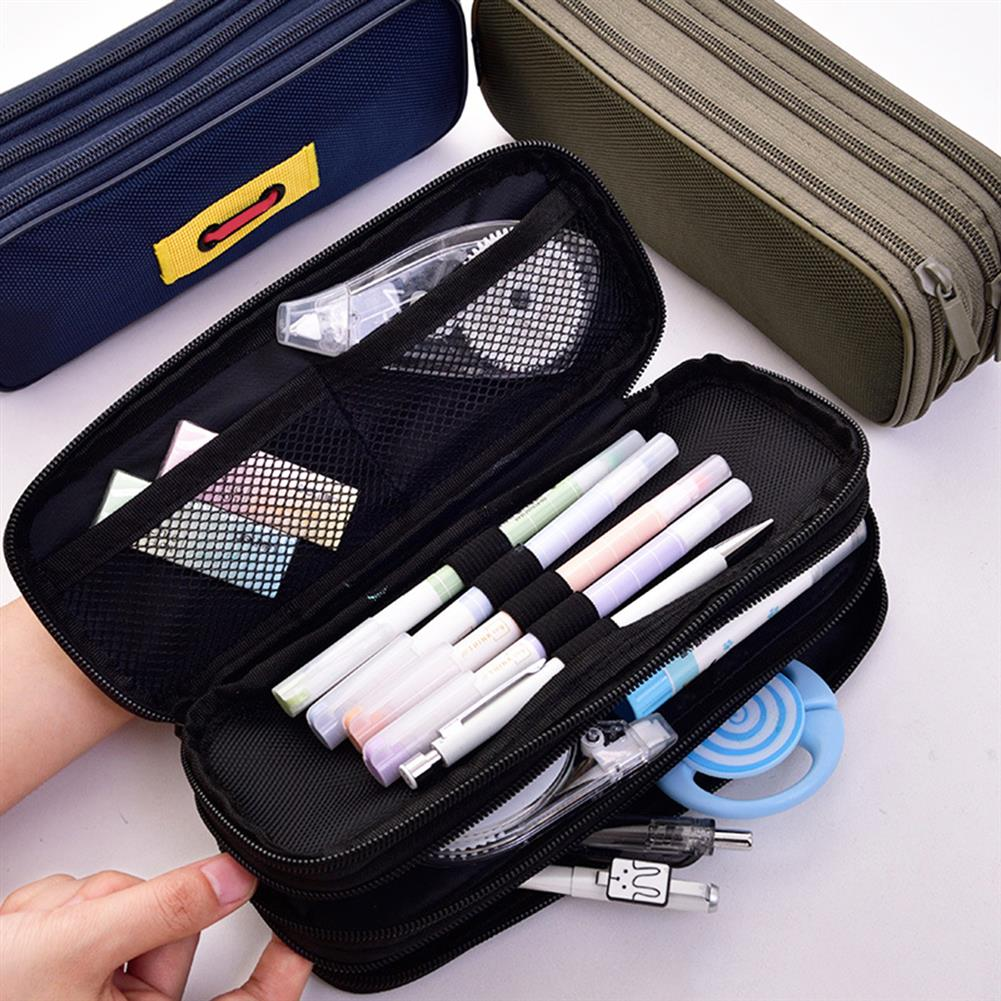 pencil-case 1 Piece Large Capacity 3 Layers Pencil Case Cute Pen Bag Zipper Storage Box Pouch office School Stationary Supplies HOB1596429 1 1