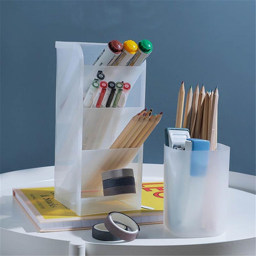 pen-holders, filing 1pc Desktop Storage Box Transparent Round Pen Oblique insert Pen Box Pen Large office Storage Pen Holder HOB1603833 1 1
