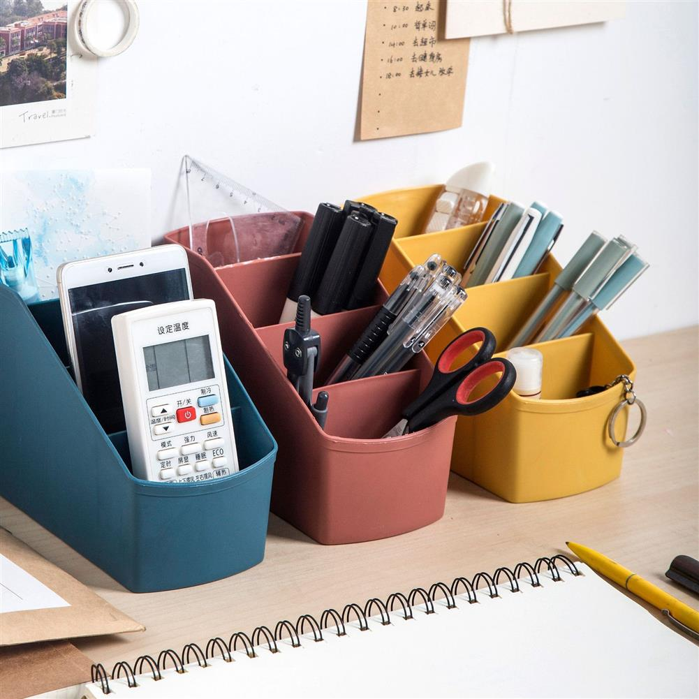 pen-holders, filing 4 Grids Pen Holder Storage Box Stationery Cosmetics Makeup Brushes Holder Sundries Organizer office Desktop Home School Supplies HOB1605526 1 1