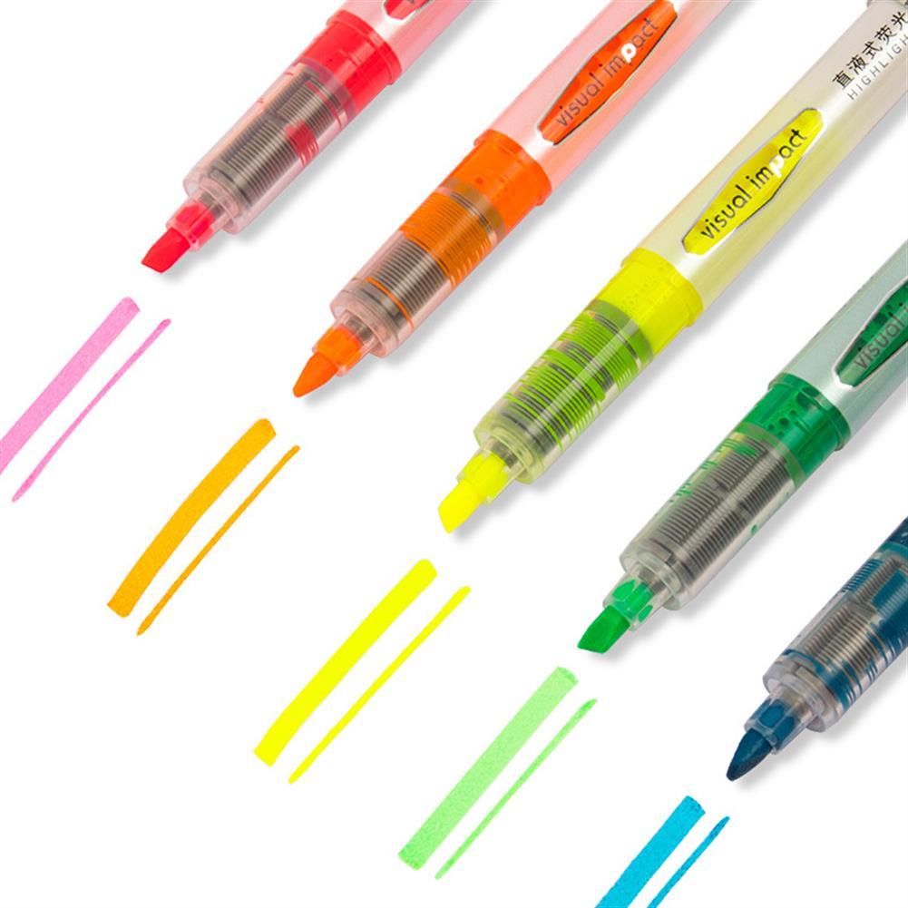 gel-pen Deli 33530 5 Pcs/set Highlighter Fluorescent Pens Marker Pen Stationery office School Supplies HOB1606647 1