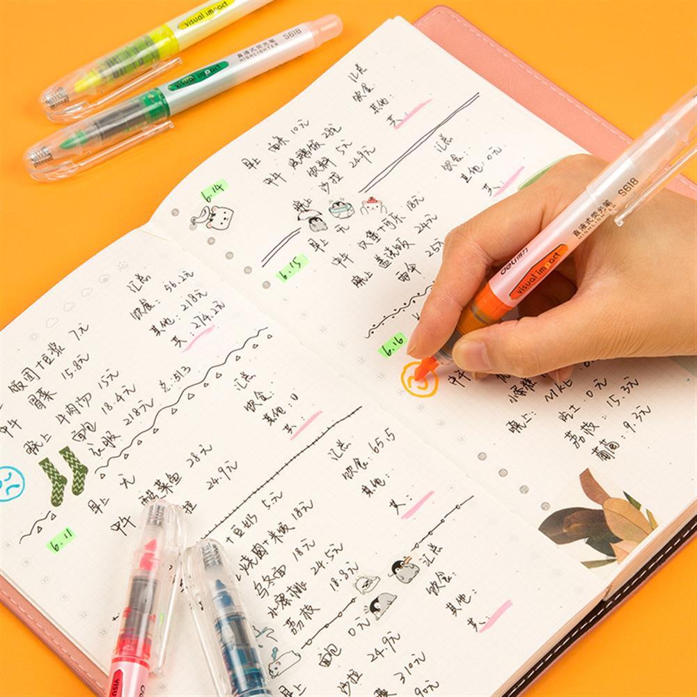 gel-pen Deli 33530 5 Pcs/set Highlighter Fluorescent Pens Marker Pen Stationery office School Supplies HOB1606647 1 1
