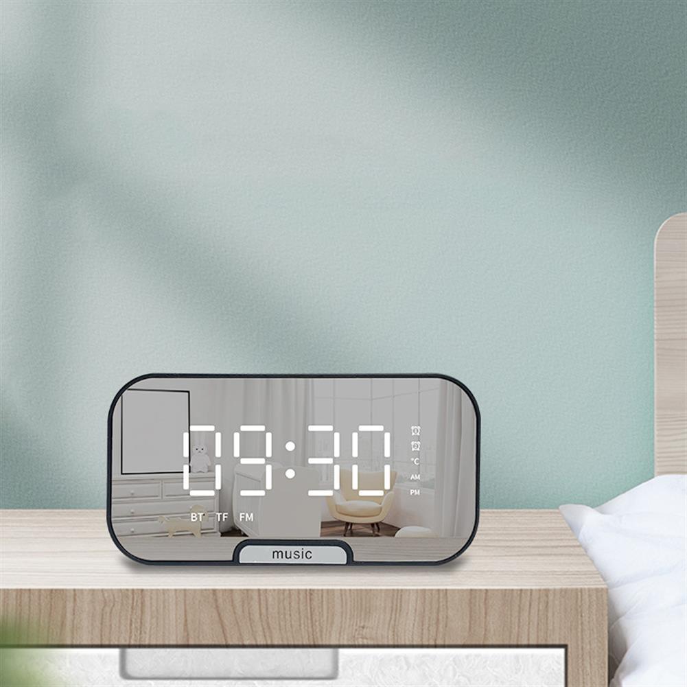 desktop-off-surface-shelves Digital Alarm Clock Bluetooth Speaker with TF Card Slot FM Radio LED Mirror Table Clock Time Temperature Display Home Decorations HOB1607472 1 1