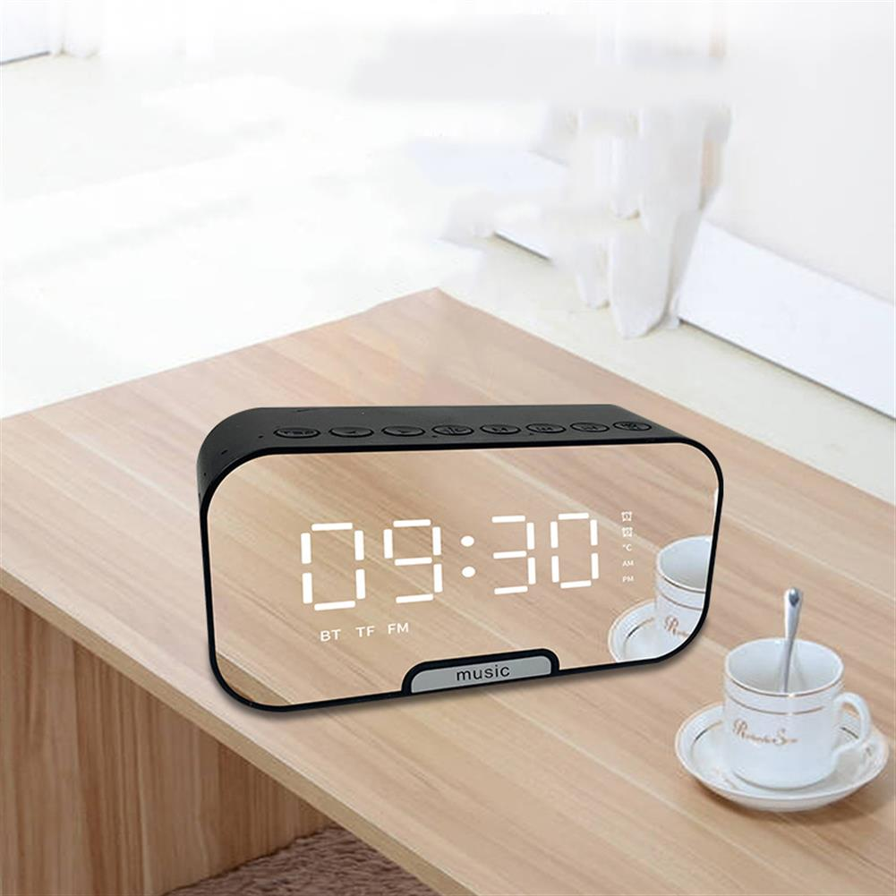 desktop-off-surface-shelves Digital Alarm Clock Bluetooth Speaker with TF Card Slot FM Radio LED Mirror Table Clock Time Temperature Display Home Decorations HOB1607472 2 1