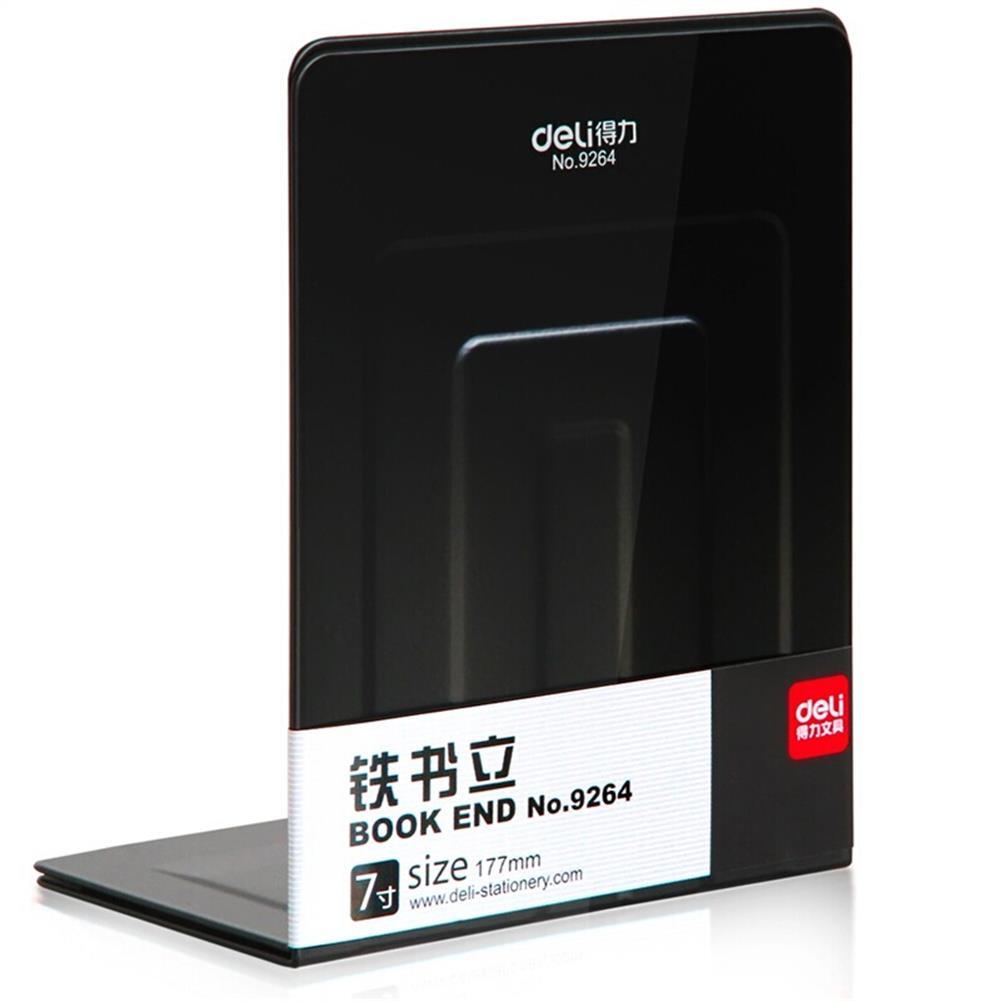 desktop-off-surface-shelves Deli 9264 Metal Iron Bookends Book Stand Desktop Books Files Organizer Anti-slip Documents Holder HOB1608131 1