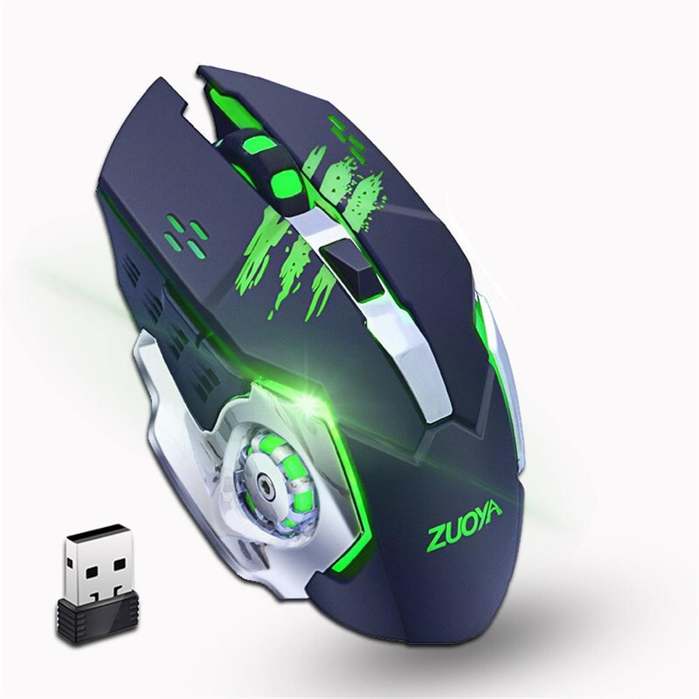 mouse ZUOYA MMR4 Wireless Mouse 2.4GHz Receiver LED Mute Silent Rechargeable USB Gaming Computer Optical Game Mice for Laptop PC Computer HOB1614283 1