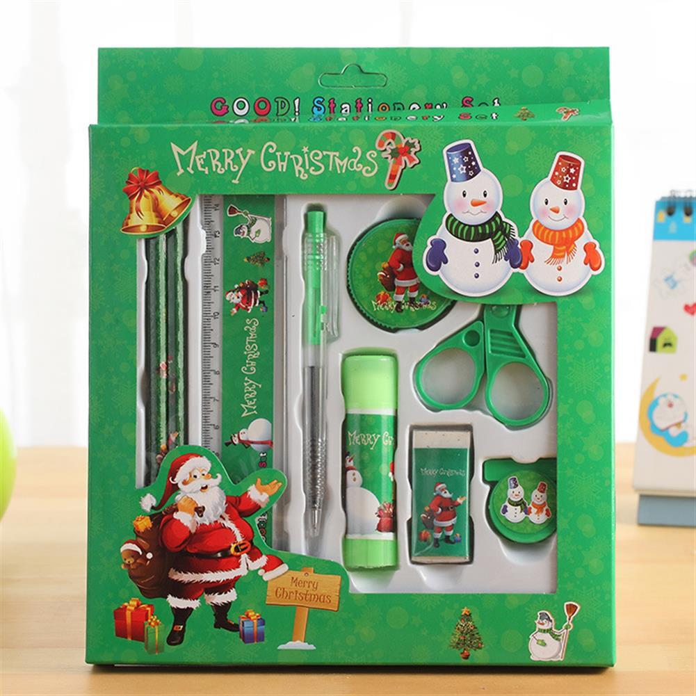 gel-pen Languotu 817 9 Pcs Christmas Stationery Set Santa Pencils Ruler Eraser Solid Glue Pencil Sharpener Scissors School Students Supplies Christmas Gift Box HOB1614460 1