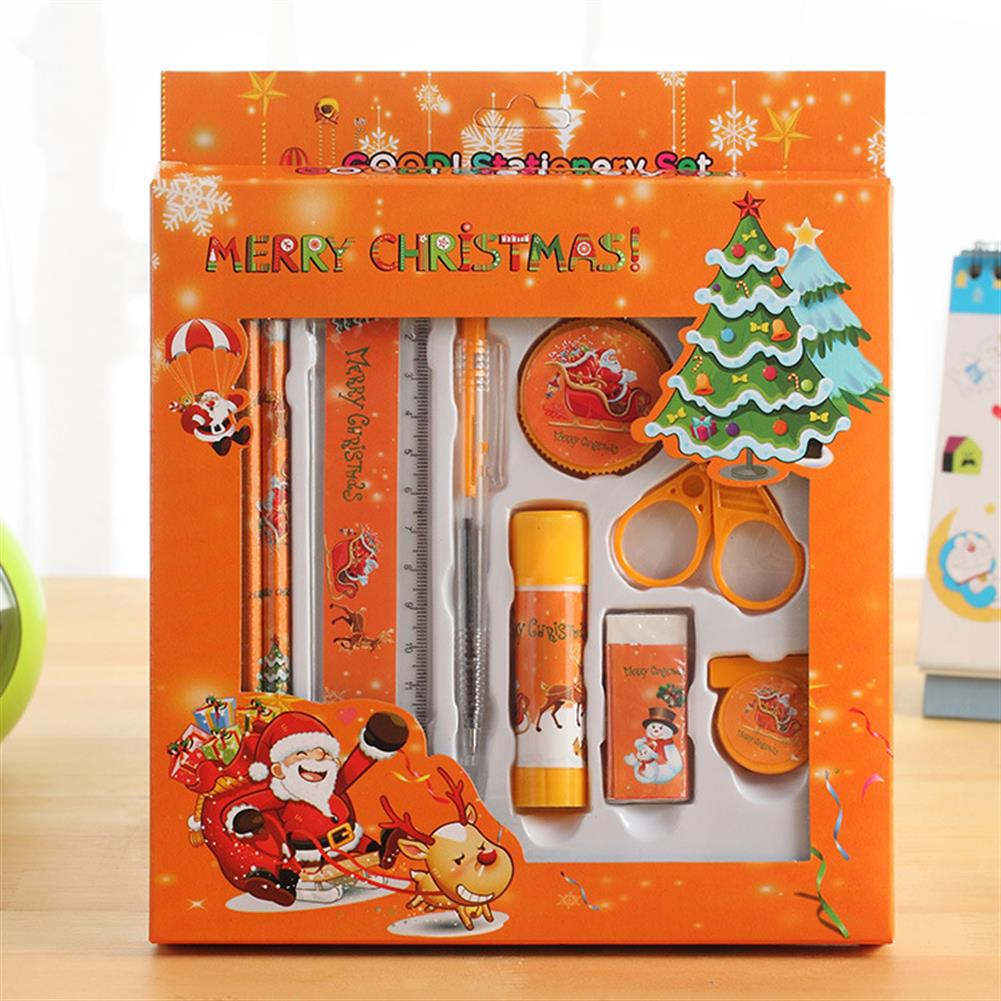 gel-pen Languotu 817 9 Pcs Christmas Stationery Set Santa Pencils Ruler Eraser Solid Glue Pencil Sharpener Scissors School Students Supplies Christmas Gift Box HOB1614460 1 1