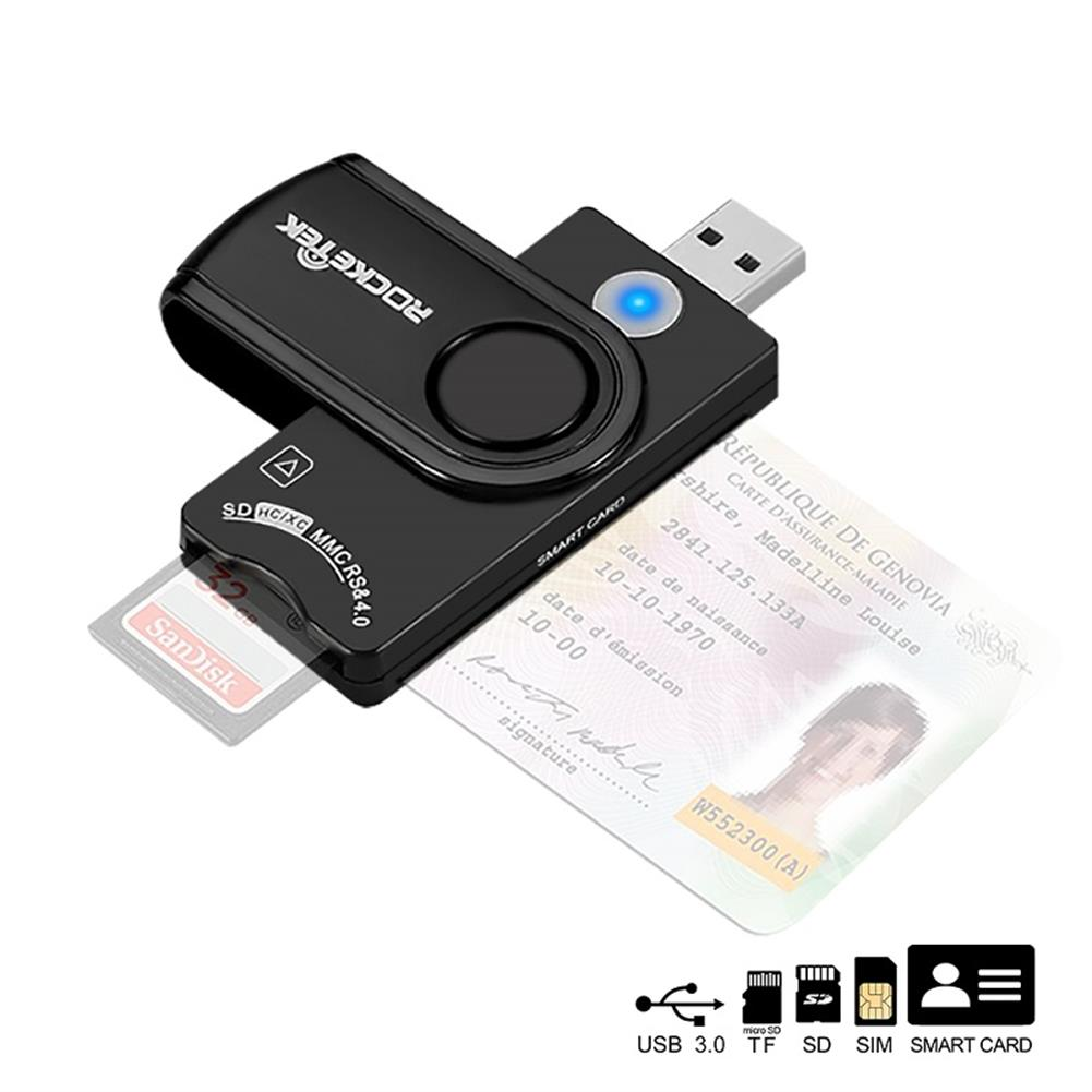 card-readers ROCKETEK USB3.0 Smart Card Reader Memory Card SIM Card Reader TF Card Reader SCR10A HOB1615369 1