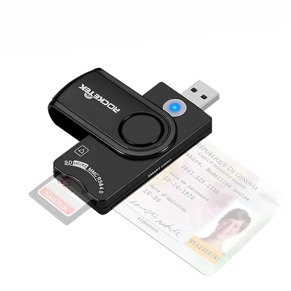card-readers ROCKETEK USB3.0 Smart Card Reader Memory Card SIM Card Reader TF Card Reader SCR10A HOB1615369 1 1