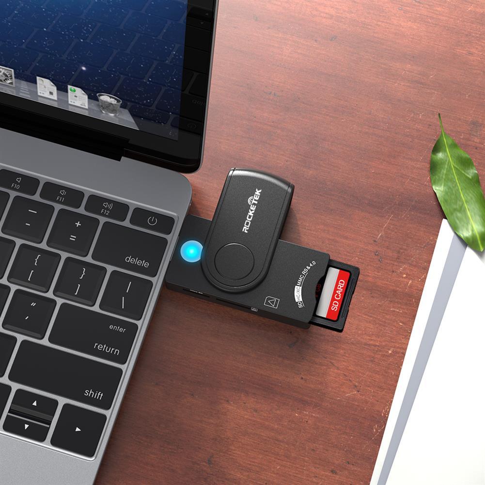card-readers ROCKETEK USB3.0 Smart Card Reader Memory Card SIM Card Reader TF Card Reader SCR10A HOB1615369 2 1
