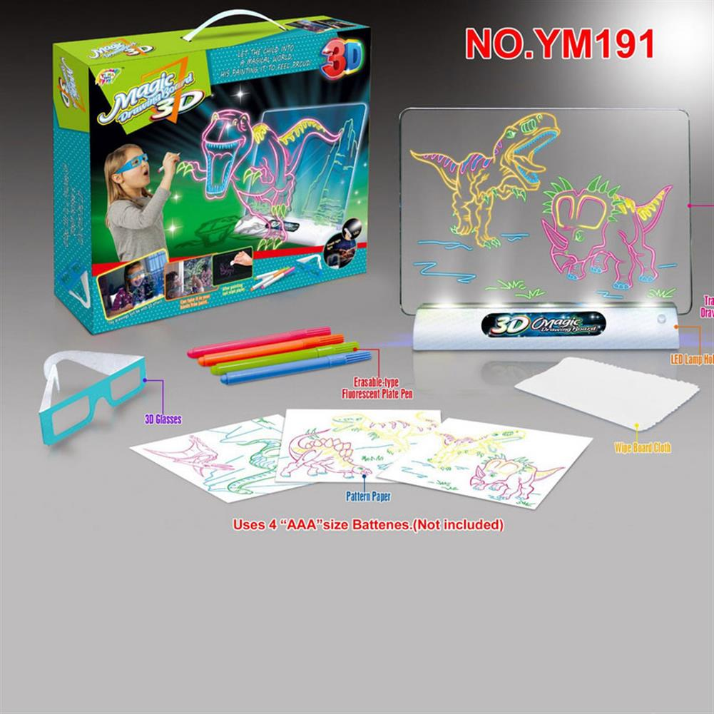 gel-pen 3D Magic Transparent Drawing Board Flash Stereo Color Painting Writing Tablet with Pen Brush Children Clipboard Gift Set HOB1625860 1 1