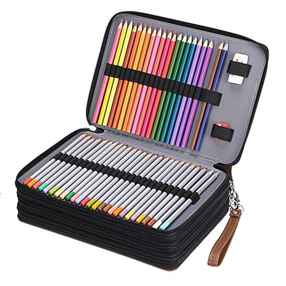 pencil-case 200 Holes Pencil Case PU Leather Penal Pen Box Big Cartridge Bag Large 4 Layers Pencilcase Stationery Kit School Art Painting Supplies HOB1625902 1