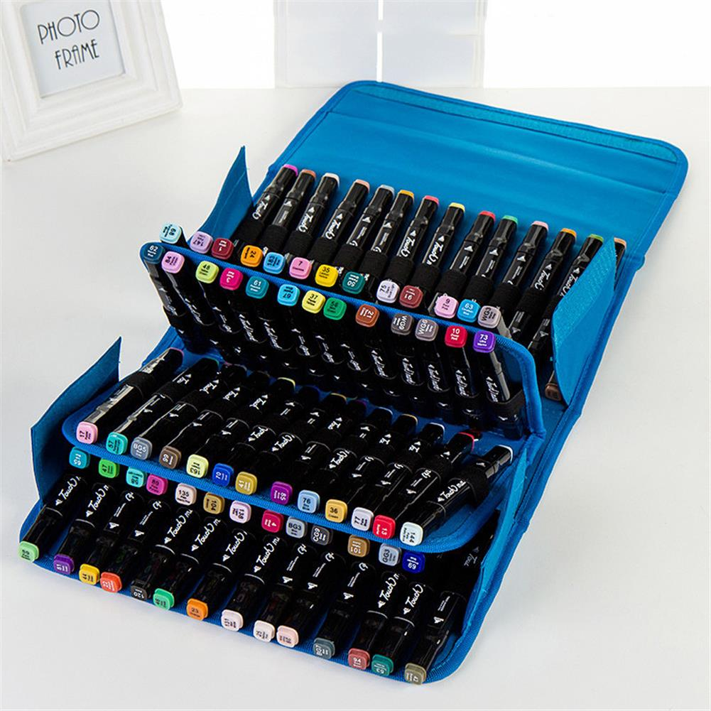 pencil-case 80 Holes Oxford Cloth Marker Pen Storage Bag Portable Markers Case Holder Large Capacity School Pencil Bag Art Painting Supplies HOB1626066 1