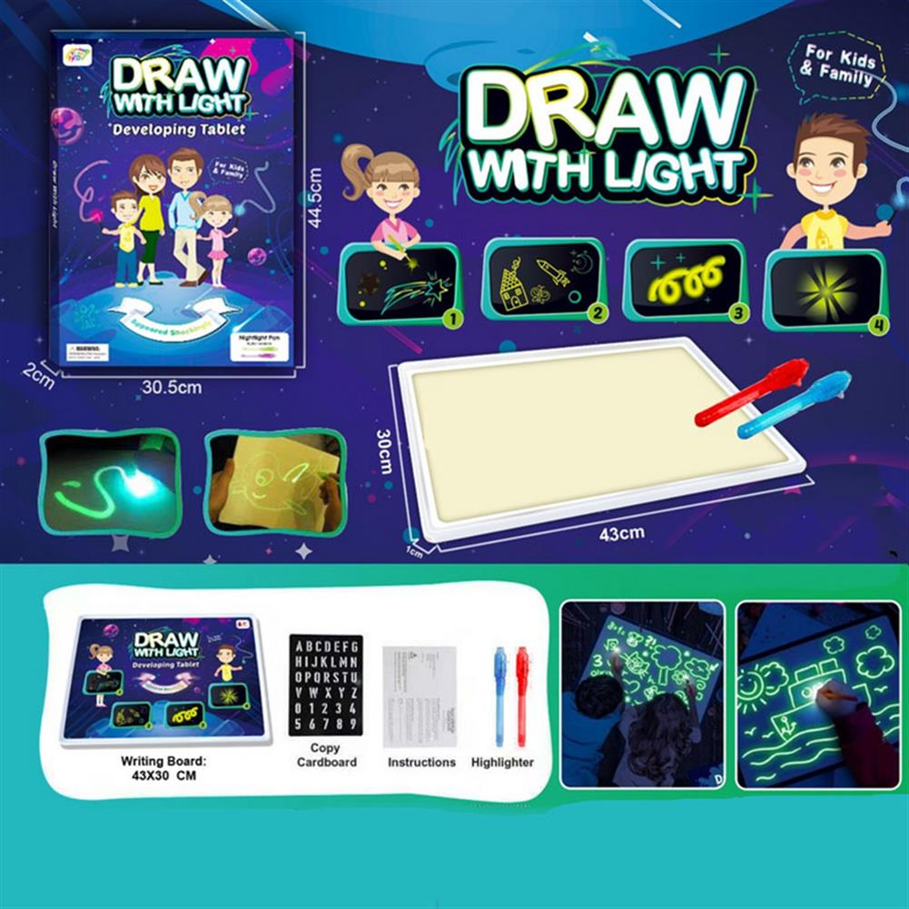 gel-pen 3D Magic Drawing Pad LED Writing Tablet Draw with Light Fun for Art Magic with Highlighter for Kids HOB1626471 1 1