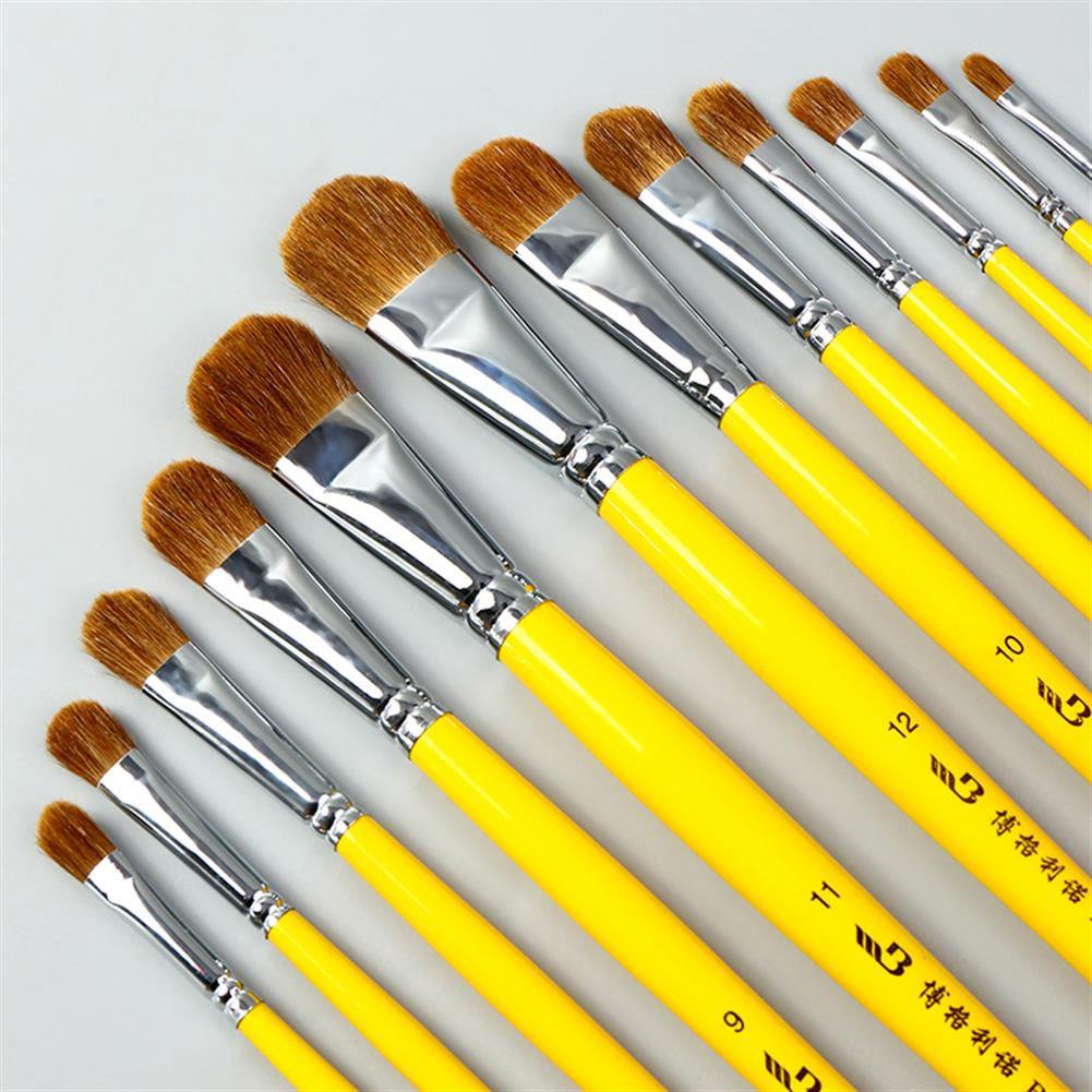 watercolor-paints BGLN 6Pcs Weasel Hair Round Head Paint Brush Set Even/Odd Number Gouache Oil Painting Solid Wood Yellow Handle Paint Brushes Watercolor Pens School Students Art Supplies HOB1627140 1