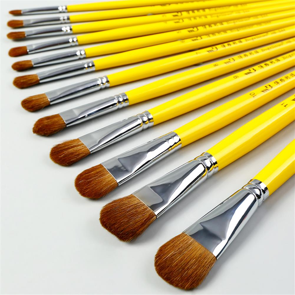 watercolor-paints BGLN 6Pcs Weasel Hair Round Head Paint Brush Set Even/Odd Number Gouache Oil Painting Solid Wood Yellow Handle Paint Brushes Watercolor Pens School Students Art Supplies HOB1627140 1 1