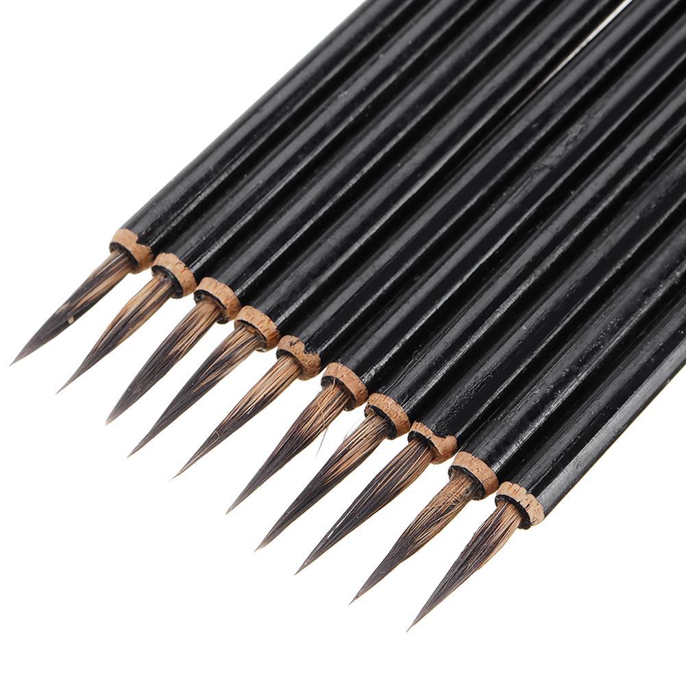 brush 10PCS Rat Beard Oil Paint Brush Wood Handel Different Size Hook Line Pen for Acrylic Painting Art HOB1628864 1 1