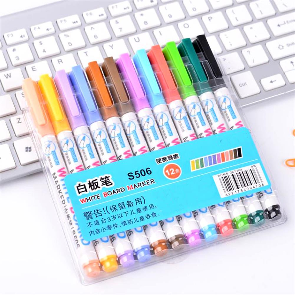 marker 12pcs Mixed Colour White Board Bright Marker Pen Set Fine bullet Tip Pens Easy Dry Wipe Stationery Painting Supplies HOB1631553 1