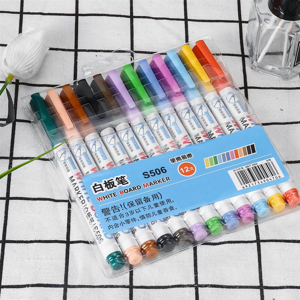 marker 12pcs Mixed Colour White Board Bright Marker Pen Set Fine bullet Tip Pens Easy Dry Wipe Stationery Painting Supplies HOB1631553 1 1