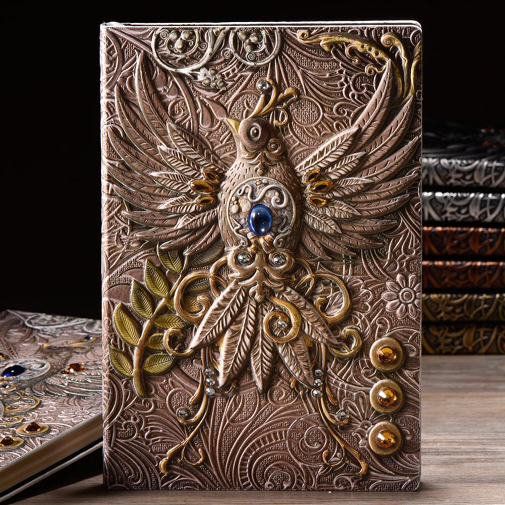 paper-notebooks A5 Embossed Leather Travel Journals Vintage Handcraft Embossed Phoenix Antique Diary Notebook HOB1632592 1