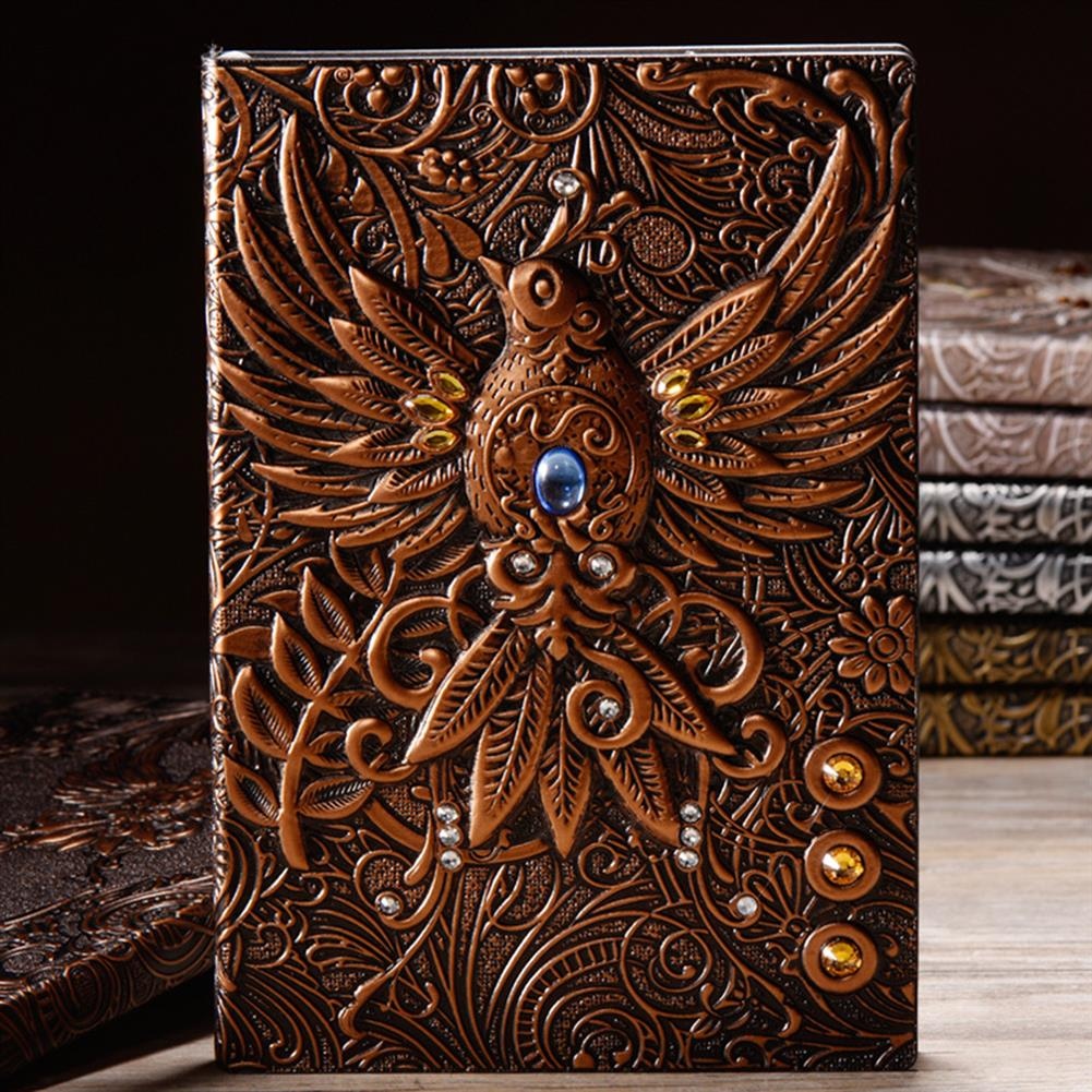 paper-notebooks A5 Embossed Leather Travel Journals Vintage Handcraft Embossed Phoenix Antique Diary Notebook HOB1632592 1 1
