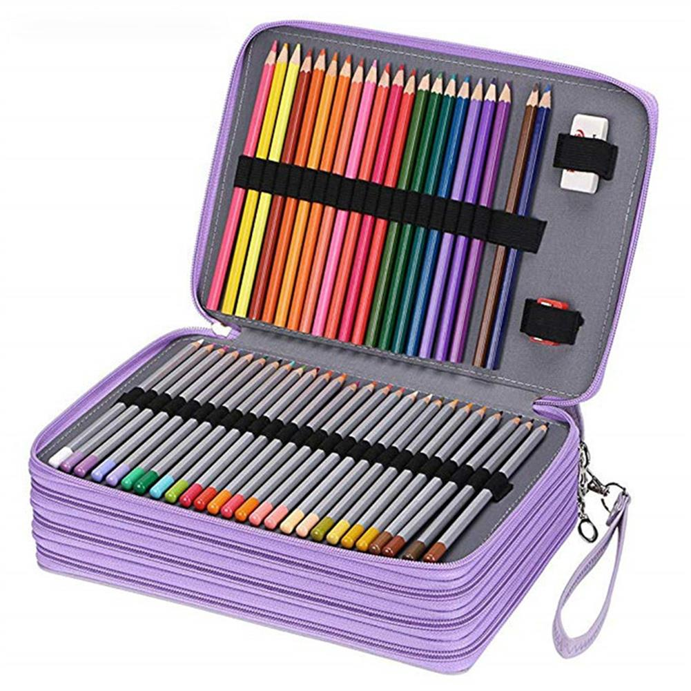 pencil-case 184 Slots Colored Pencil Case Large Capacity Soft and PU Leather Pencil Holder Organizer with Carrying Handle Not included Pens HOB1633760 1