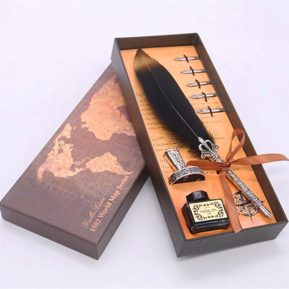 gel-pen Retro Feather Quill Dip Fountain Pen ink Set Writing function for Signature Signning Pen HOB1633761 1