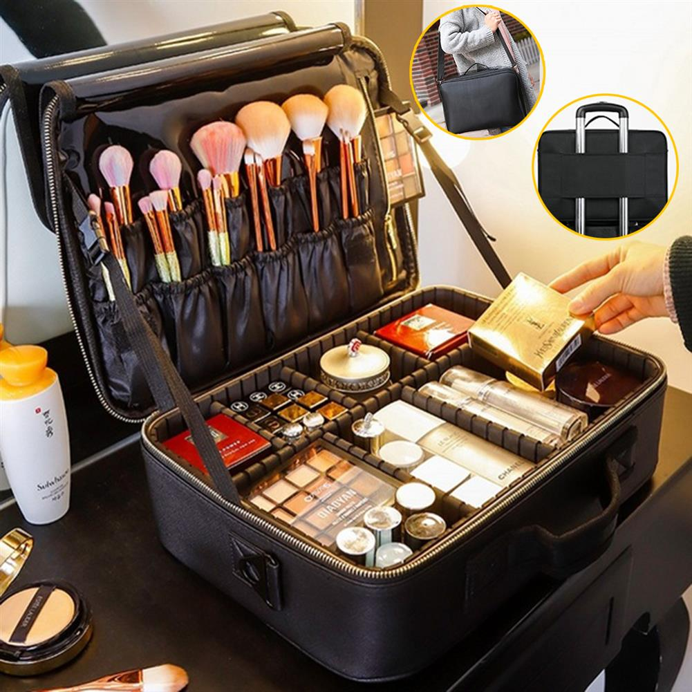 desktop-off-surface-shelves 2/3 Tiers Makeup Bag Travel Cosmetic Case Desktop Beauty Brush Organizer Box Large Capacity Cosmetic Storage Bag HOB1634733 1