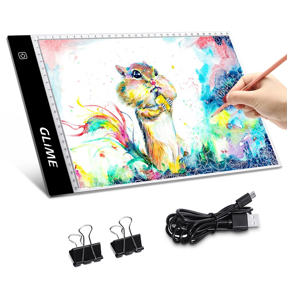 watercolor-paints GLIME A4 Tracing Copy Board Graphics Tablet LED Light Box Digital Sketch Drawing Board Painting Writing Tablet HOB1637652 1