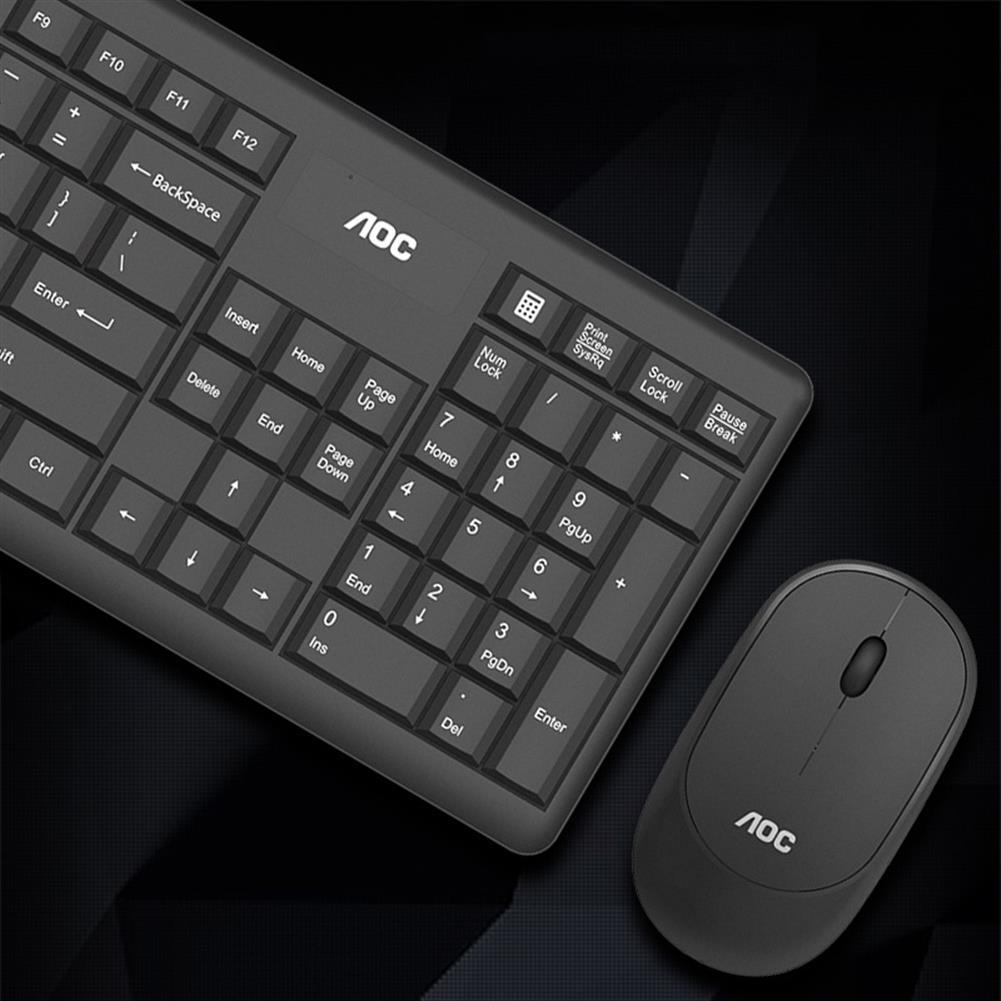 keyboards AOC KM200 2.4GHz Wireless Keyboard & Mouse Set 104 Keys Waterproof USB Receiver Keyboard 1600DPI Mouse Home office Ergonomic Mice Kit for Laptop Computer PC HOB1642746 3 1