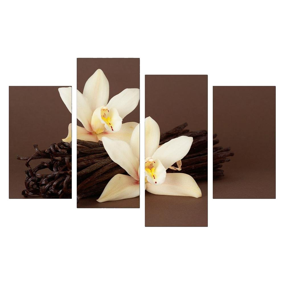 art-kit 4Pcs White Orchids Flower Canvas Painting Wall Decorative Print Art Pictures Frameless Wall Hanging Decorations for Home office HOB1648405 1