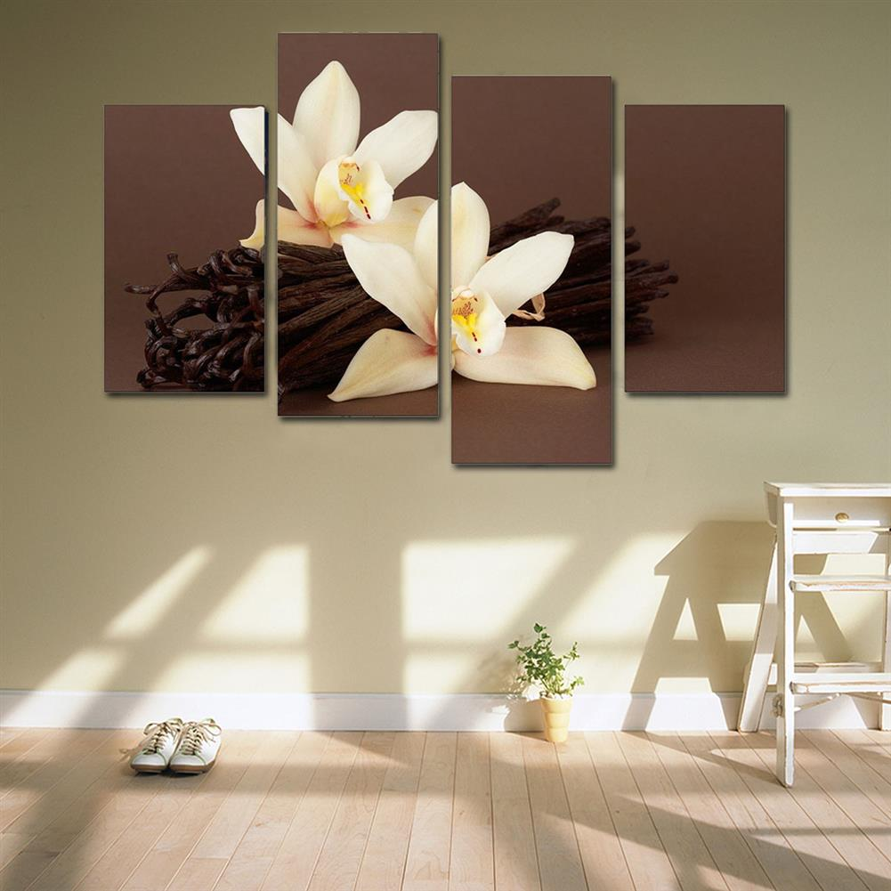 art-kit 4Pcs White Orchids Flower Canvas Painting Wall Decorative Print Art Pictures Frameless Wall Hanging Decorations for Home office HOB1648405 1 1