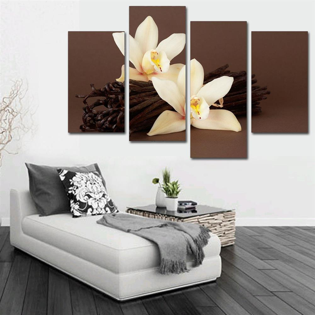 art-kit 4Pcs White Orchids Flower Canvas Painting Wall Decorative Print Art Pictures Frameless Wall Hanging Decorations for Home office HOB1648405 2 1