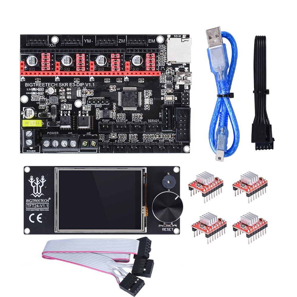 3d-printer-module-board BIGTREETECH SKR E3 DIP V1.1 32Bit Control Board + TFT24 Touch Screen+ 4Pcs A4988 Driver Kit for 3D Printer HOB1654196 1