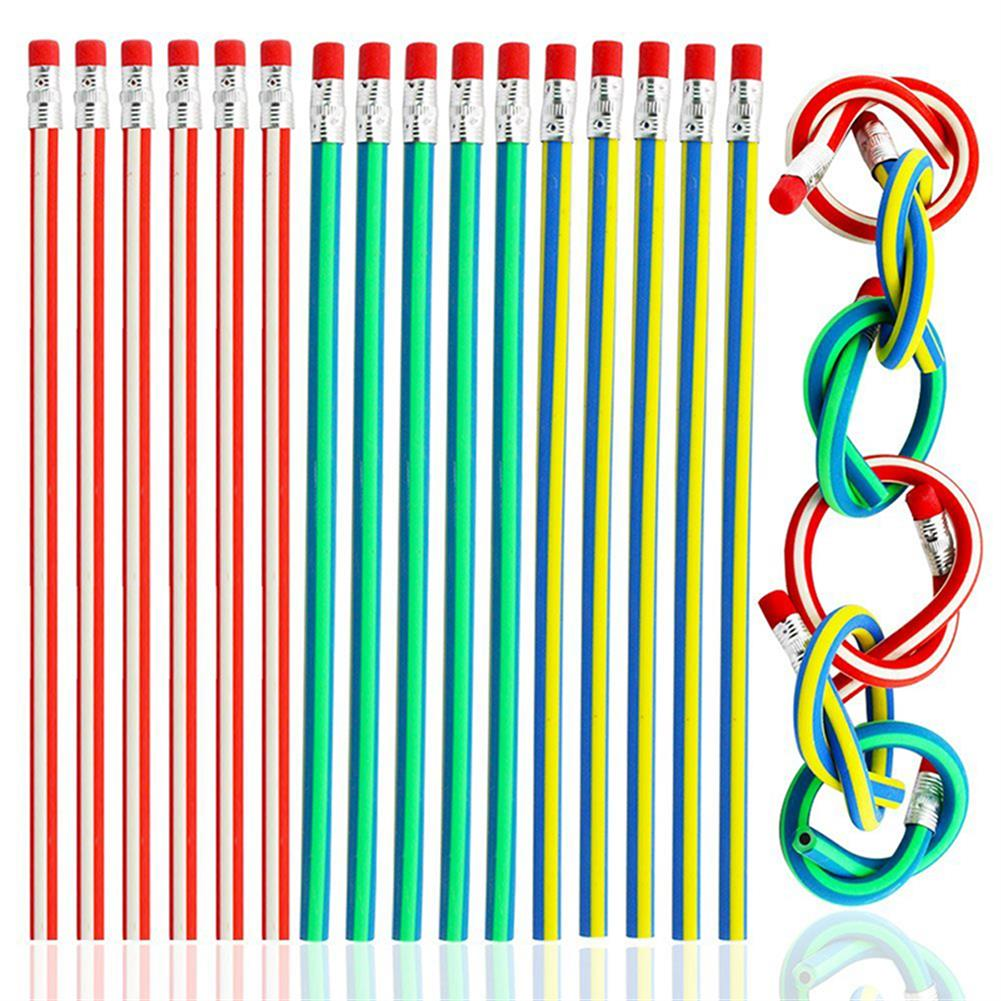pencil Colorful Magic Bendy Flexible Soft Pencil with Eraser Stationery Student School office Supplies Random Color HOB1659779 1
