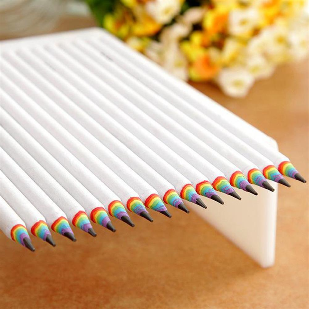 pencil 2B Rainbow Color Pencil White Black Shell Paper Material Drawing Supplies Cute Pencils for School office HOB1660974 1 1
