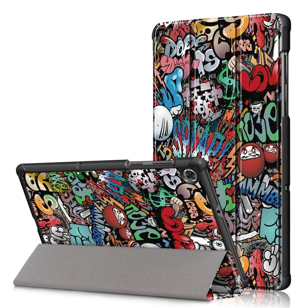 tablet-cases Tri-Fold Pringting Tablet Case Cover for Lenovo Tab M10 Plus Tablet - Doodle Version HOB1667014 1