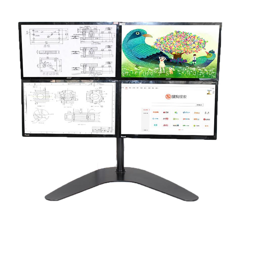 monitor-arms-stands Quad LCD Computer Monitor Laptop Stand Mount Free Standing Heavy Duty Desk Stand Fully Adjustable Holds 4 Screens up to 30 inches HOB1672130 1