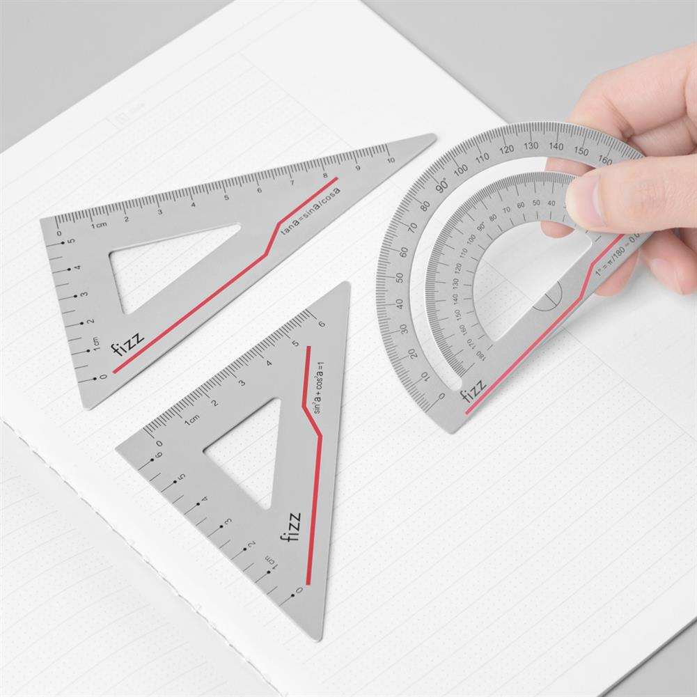 ruler FIZZ 1 Set Aluminum Alloy Ruler Clear Scale Lightweight and Wearable Straight Ruler/Angle Ruler office School Student Supplies HOB1677648 1