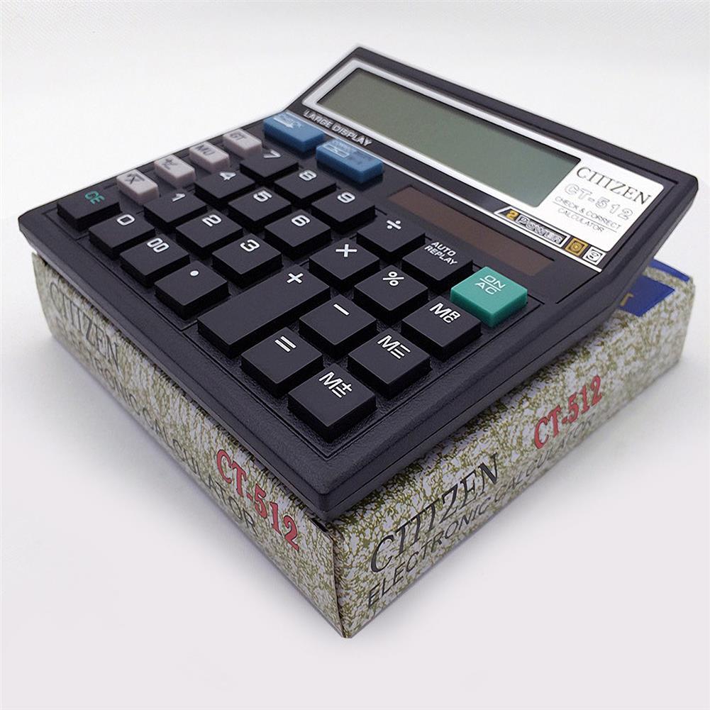 calculator CT-512 Solar Calculator 12 Digital Calculator Black Calculator HOB1687683 1