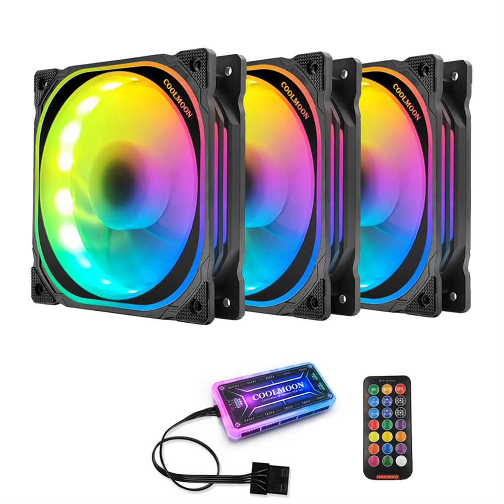 fans-cooling Coolmoon 12cm RGB Computer Case Cooling Fan Quiet Chassis Fan Computer PC Cooler for PC Computer Case CPU HOB1689109 1