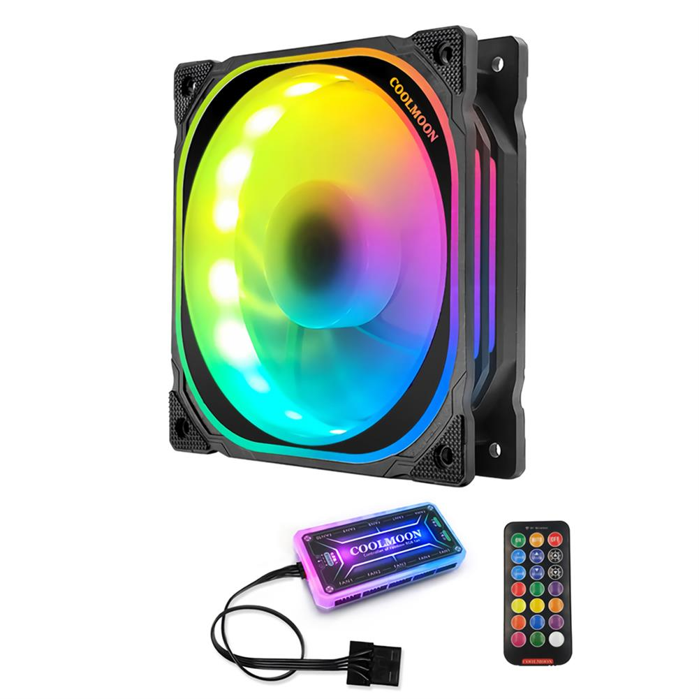 fans-cooling Coolmoon 12cm RGB Computer Case Cooling Fan Quiet Chassis Fan Computer PC Cooler for PC Computer Case CPU HOB1689109 1 1