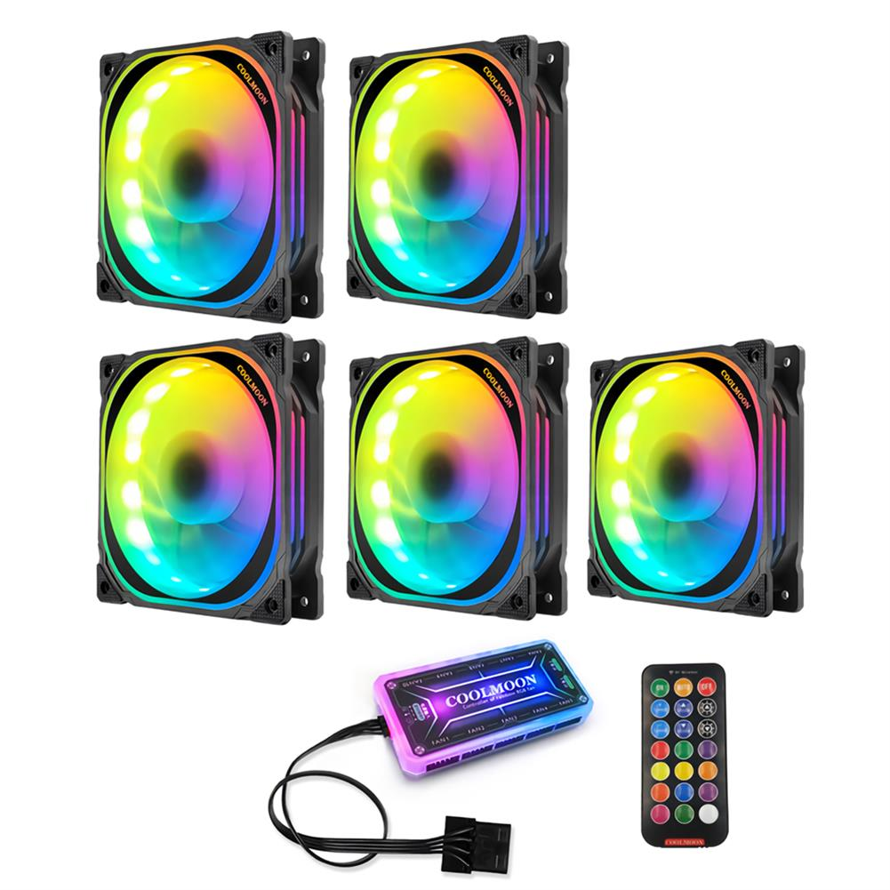 fans-cooling Coolmoon 12cm RGB Computer Case Cooling Fan Quiet Chassis Fan Computer PC Cooler for PC Computer Case CPU HOB1689109 2 1