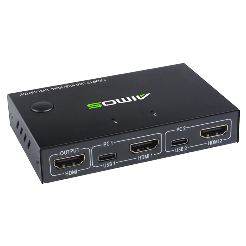 video-cables-connectors AIMOS USB HDMI Switch Box Video Switch Display 4K Splitter KVM Switch for 2 PCs Share Switcher Keyboard Mouse Printer Plug and Play HOB1689208 1 1
