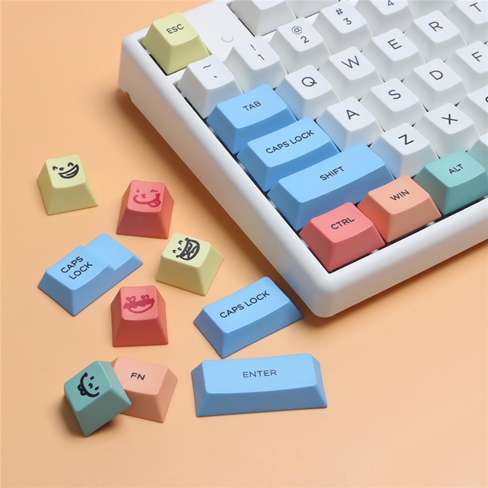keycaps-switches MechZone 117 Keys Chalk Keycap Set Cherry Profile PBT Sublimation Keycaps for Mechanical Keyboards HOB1694335 2 1