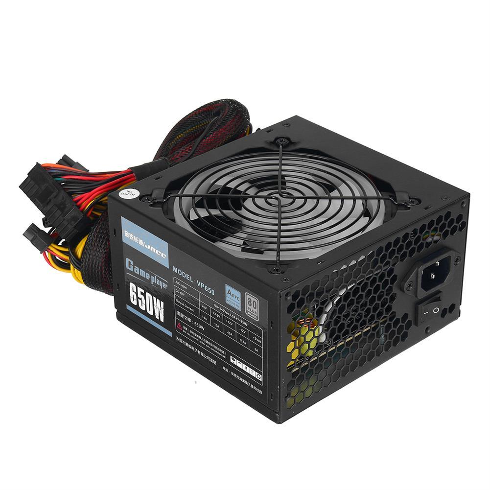 pc-power-supplies 650W PC Power Supply Unit Quiet 12cm RGB Fan 20 & 4Pin ATX 4 SATA Ports Computer Power Supply Module Black HOB1694870 1 1
