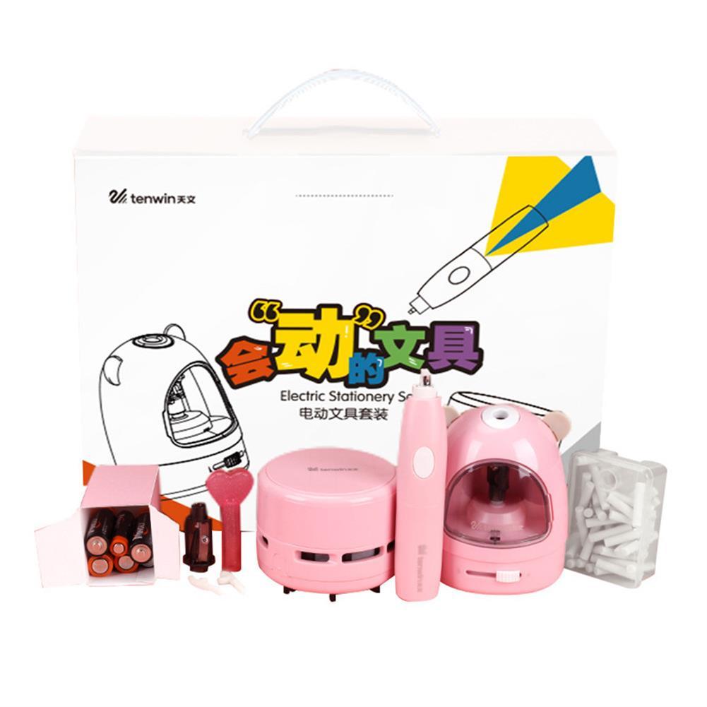 pencil-sharpener 10win 8087 3pcs/set Electric Pencil Sharpener Stationery Set Mini Vacuum Cleaner Electric Eraser Cartoon Kids Learning Kit Box Boy Girls HOB1710114 1